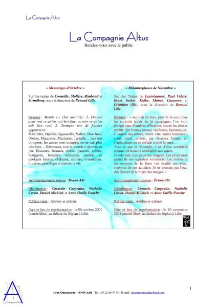 La Compagnie Altus Rendez-vous avec le public de 2001 à 2004 (page 1) [2004] (Conception graphique de Didier Desmet) [Artiste Infirme Moteur Cérébral] [Infirmité Motrice Cérébrale] [IMC] [Paralysie Cérébrale] [Cerebral Palsy] [Handicap]