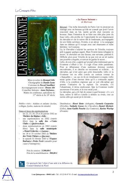 La Compagnie Altus Rendez-vous avec le public de 2001 à 2004 (page 2) [2004] (Affiche de Didier Desmet dessin original de Daniel Michiels Photos de inconnu Modèles Nathalie Caron et D Michiels) [Artiste Infirme Moteur Cérébral] [Infirmité Motrice Cérébrale] [IMC] [Paralysie Cérébrale] [Cerebral Palsy] [Handicap]
