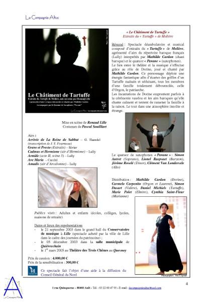 La Compagnie Altus Rendez-vous avec le public de 2001 à 2004 (page 4) [2004] (Affiche de Didier Desmet photo d`Eric Legrand Photos d`E Legrand Modèles M Cardon, C Carpenito et D Michiels) [Artiste Infirme Moteur Cérébral] [Infirmité Motrice Cérébrale] [IMC] [Paralysie Cérébrale] [Cerebral Palsy] [Handicap]