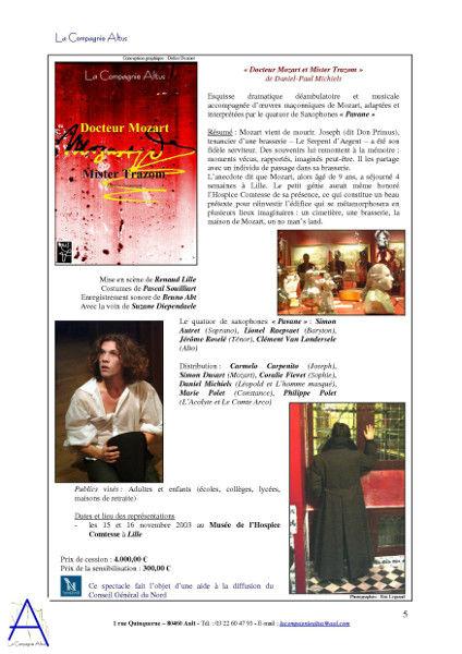 La Compagnie Altus Rendez-vous avec le public de 2001 à 2004 (page 5) [2004] (Affiche de Didier Desmet Photos d`Eric Legrand Modèles Le quatuore de saxophones Pavane, Simon Dusart, Daniel Michiels) [Artiste Infirme Moteur Cérébral] [Infirmité Motrice Cérébrale] [IMC] [Paralysie Cérébrale] [Cerebral Palsy] [Handicap]