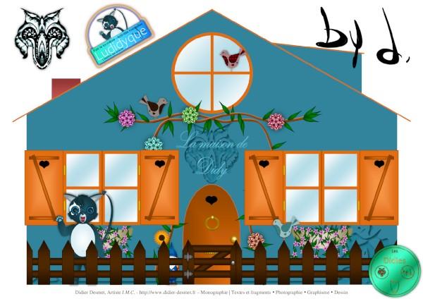La maison de Didy (Création et conception graphique de Didier Desmet) Papercraft gratuit [Maison de poupée en papier] [Contruction en papier] DIY [Artiste Infirme Moteur Cérébral] [Infirmité Motrice Cérébrale] [IMC] [Paralysie Cérébrale] [Cerebral Palsy] [Handicap] [Kawaii]