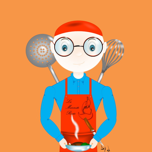 Le p'tit Ben' by d. pour La Marmite Rusée - Benoît Sené, Traiteur à domicile [2019] (Création et conception graphique de Didier Desmet) [Artiste Infirme Moteur Cérébral] [Infirmité Motrice Cérébrale] [IMC] [Paralysie Cérébrale] [Cerebral Palsy] [Handicap] [Kawaii]