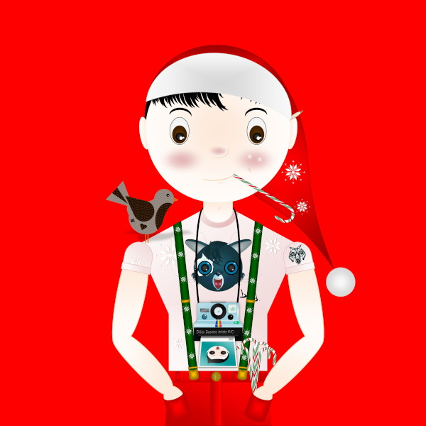 Le p`tit Did`by d [2014-2017-2018] avec polaroid Joyeux Noël (Création et conception graphique de Didier Desmet) [Artiste Infirme Moteur Cérébral] [Infirmité Motrice Cérébrale] [IMC] [Paralysie Cérébrale] [Cerebral Palsy] [Handicap] [Kawaii]
