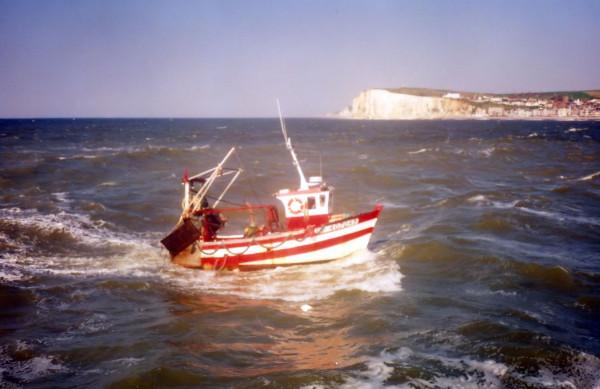 Le Tréport - Vue sur les falaises d`Ault - Le bateau (Seine-Maritime - 76470) [2001] (Photo de Didier Desmet) Argentique [Artiste Infirme Moteur Cérébral] [Infirmité Motrice Cérébrale] [IMC] [Paralysie Cérébrale] [Cerebral Palsy] [Handicap]