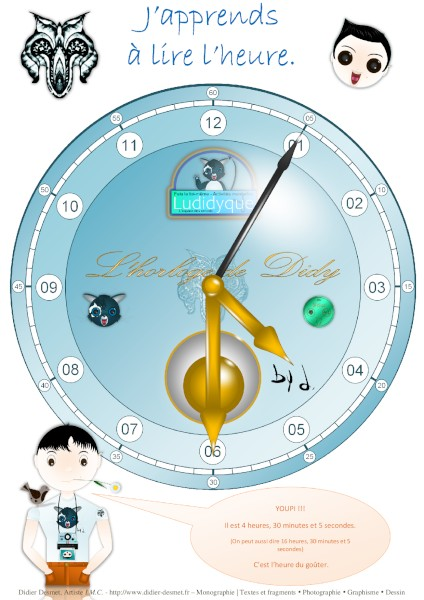 L`horloge de Didy (Création et conception graphique de Didier Desmet) Papercraft gratuit [Contruction en papier] DIY [Artiste Infirme Moteur Cérébral] [Infirmité Motrice Cérébrale] [IMC] [Paralysie Cérébrale] [Cerebral Palsy] [Handicap] [Kawaii]