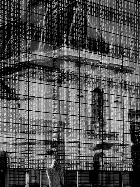 Lille - Palais des Beaux Arts - Place de la République (Nord - 59000) [2016] (Photo de Didier Desmet) Monochrome [Artiste Infirme Moteur Cérébral] [Infirmité Motrice Cérébrale] [IMC] [Paralysie Cérébrale] [Cerebral Palsy] [Handicap]