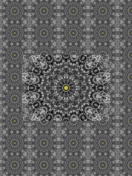 Margerite et megalithe [2012] (Création et conception graphique de Didier Desmet) [Motif] [Pattern] [Motifs] [Patterns] [Artiste Infirme Moteur Cérébral] [Infirmité Motrice Cérébrale] [IMC] [Paralysie Cérébrale] [Cerebral Palsy] [Handicap]
