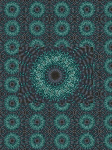 Marguerites turquoises [2012] (Création et conception graphique de Didier Desmet) [Motif] [Pattern] [Motifs] [Patterns] [Artiste Infirme Moteur Cérébral] [Infirmité Motrice Cérébrale] [IMC] [Paralysie Cérébrale] [Cerebral Palsy] [Handicap]