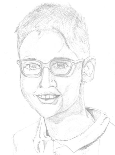 Mon neveu et filleul, Lucas - Photo de classe 2019-2020 (5e) [Février 2020] (Dessin de Didier Desmet) [Artiste Infirme Moteur Cérébral] [Infirmité Motrice Cérébrale] [IMC] [Paralysie Cérébrale] [Cerebral Palsy] [Handicap]