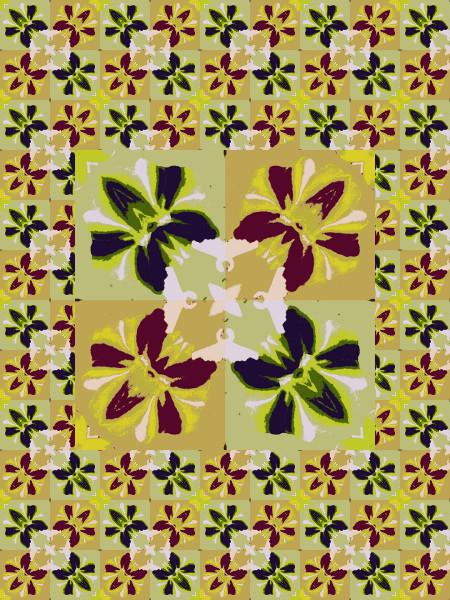 Orchidées naves [2012] (Création et conception graphique de Didier Desmet) [Motif] [Pattern] [Motifs] [Patterns] [Artiste Infirme Moteur Cérébral] [Infirmité Motrice Cérébrale] [IMC] [Paralysie Cérébrale] [Cerebral Palsy] [Handicap]