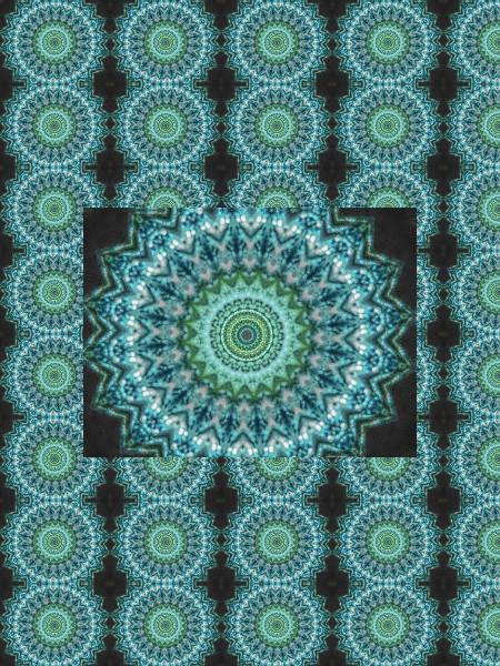 Rouages des eaux turquoises [2012] (Création et conception graphique de Didier Desmet) [Motif] [Pattern] [Motifs] [Patterns] [Artiste Infirme Moteur Cérébral] [Infirmité Motrice Cérébrale] [IMC] [Paralysie Cérébrale] [Cerebral Palsy] [Handicap]