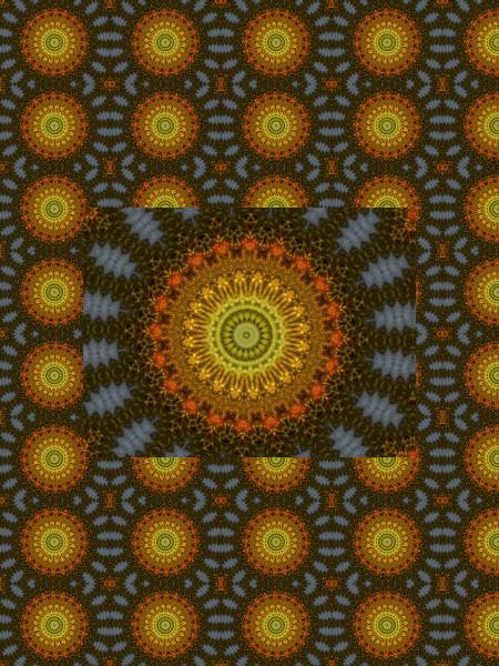 Tournesol vintage [2012] (Création et conception graphique de Didier Desmet) [Motif] [Pattern] [Motifs] [Patterns] [Artiste Infirme Moteur Cérébral] [Infirmité Motrice Cérébrale] [IMC] [Paralysie Cérébrale] [Cerebral Palsy] [Handicap]