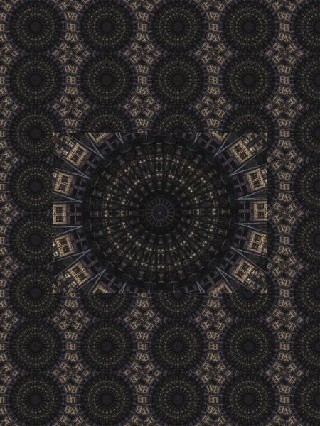 Ville ensorcelée [2012] (Création et conception graphique de Didier Desmet) [Motif] [Pattern] [Motifs] [Patterns] [Artiste Infirme Moteur Cérébral] [Infirmité Motrice Cérébrale] [IMC] [Paralysie Cérébrale] [Cerebral Palsy] [Handicap]